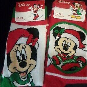Disney Mickey Minnie Mouse Holiday Christmas Socks